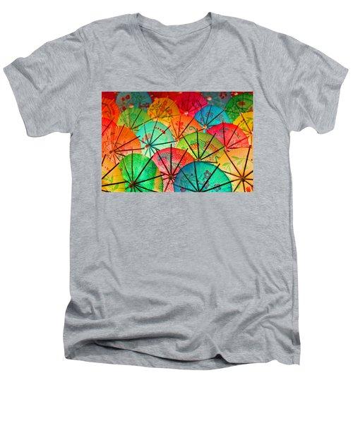 Umbrellas Galore Men's V-Neck T-Shirt by Bobby Villapando