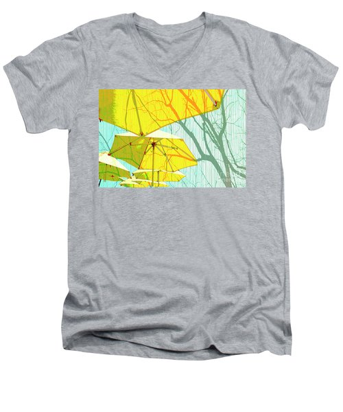 Umbrellas Yellow Men's V-Neck T-Shirt by Deborah Nakano