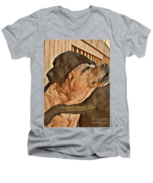 Men's V-Neck T-Shirt featuring the digital art Unconditional Love by Kathy Tarochione