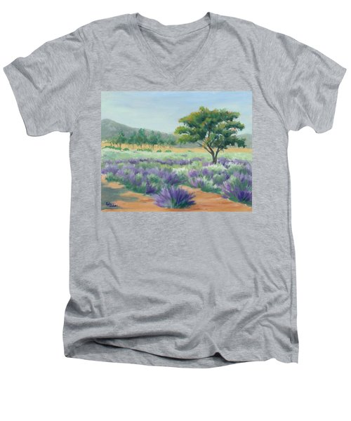 Men's V-Neck T-Shirt featuring the painting Under Blue Skies In Lavender Fields by Sandy Fisher