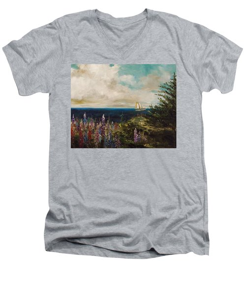 Men's V-Neck T-Shirt featuring the painting Under Full Sail by John Williams