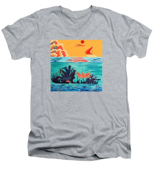 Bright Coral Reef Men's V-Neck T-Shirt