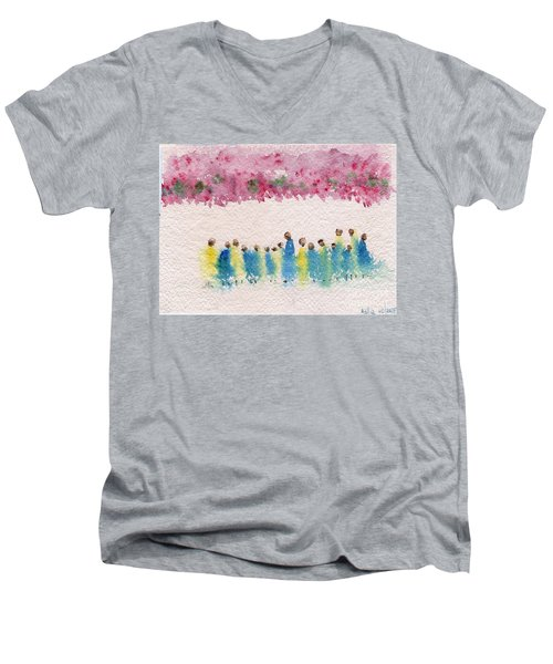 Under The Canopy Of Cherry Blossoms Men's V-Neck T-Shirt