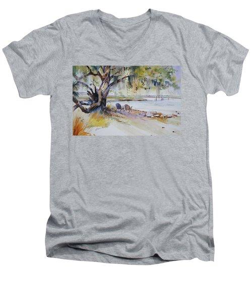 Under The Live Oak Men's V-Neck T-Shirt by P Anthony Visco
