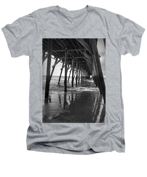 Under The Pier At Myrtle Beach Men's V-Neck T-Shirt by Kelly Hazel
