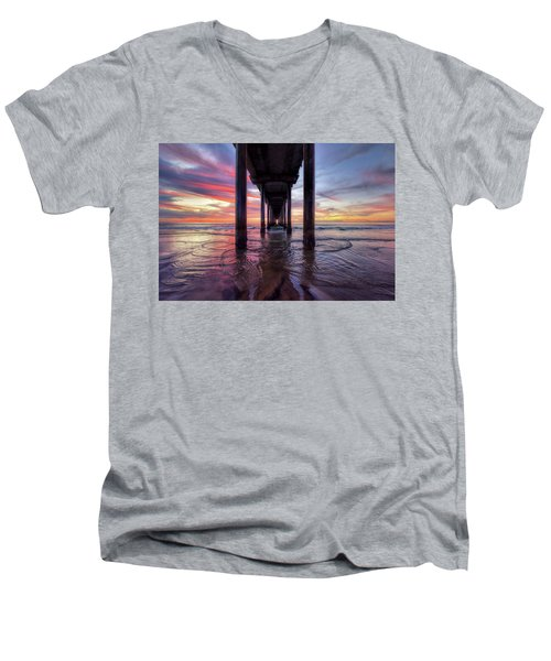 Under The Pier Sunset Men's V-Neck T-Shirt