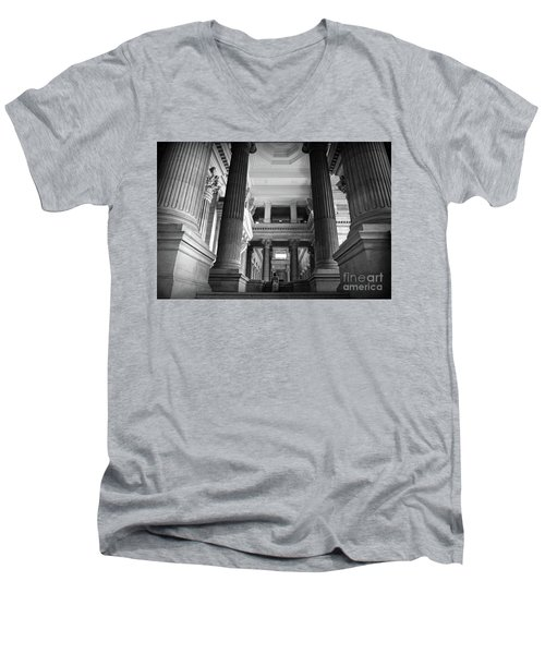 Men's V-Neck T-Shirt featuring the photograph Under The Scaffolding Of The Palace Of Justice - Brussels by RicardMN Photography