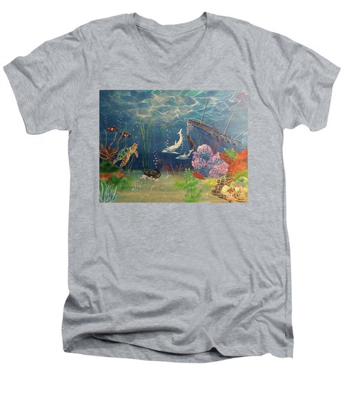 Under The Sea Men's V-Neck T-Shirt by Denise Tomasura