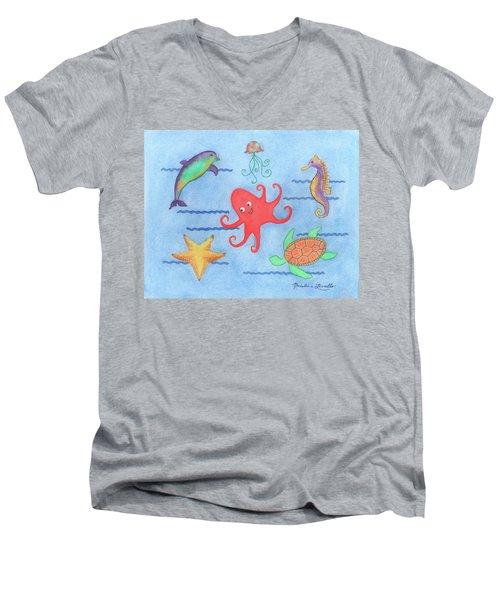 Under The Sea, Red Octopus Men's V-Neck T-Shirt