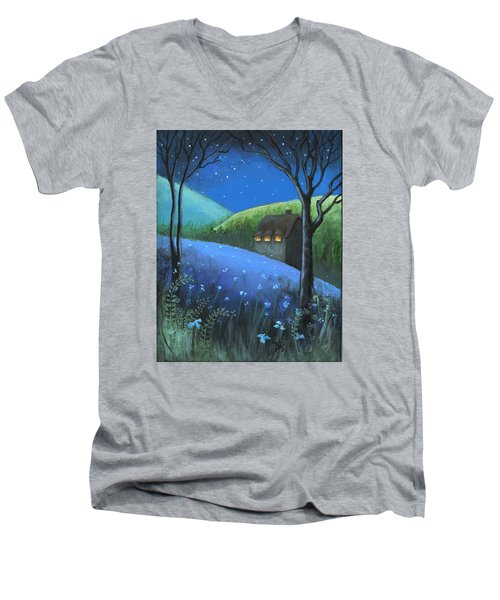 Men's V-Neck T-Shirt featuring the painting Under The Stars by Terry Webb Harshman