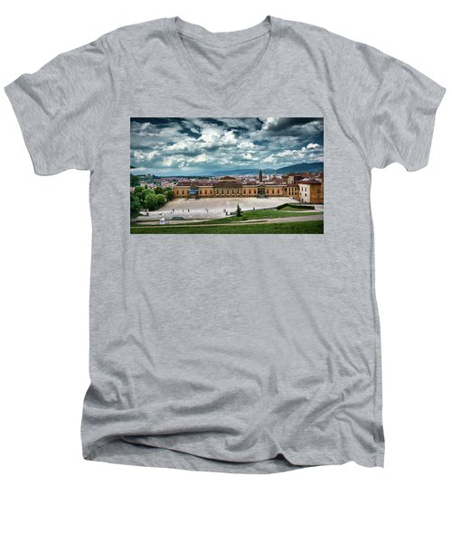 The Meridian Palace And Cityscape In Florence, Italy Men's V-Neck T-Shirt