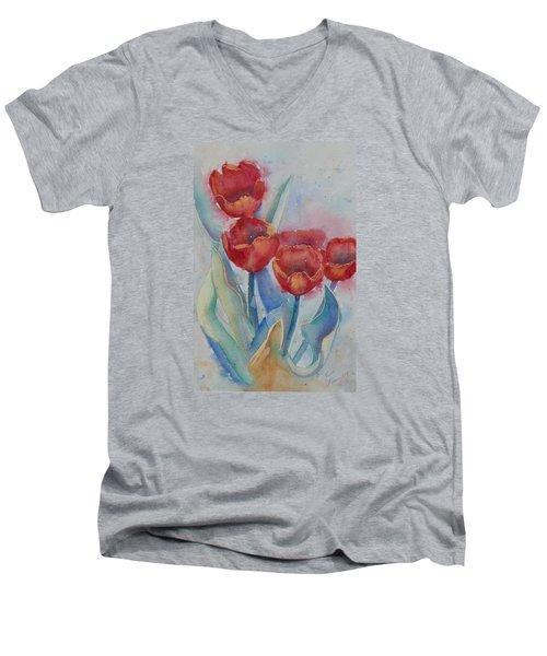 Undersea Tulips Men's V-Neck T-Shirt by Ruth Kamenev