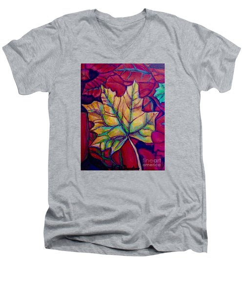 Understudy Of A Turning Maple Leaf In The Fall Men's V-Neck T-Shirt by Kimberlee Baxter