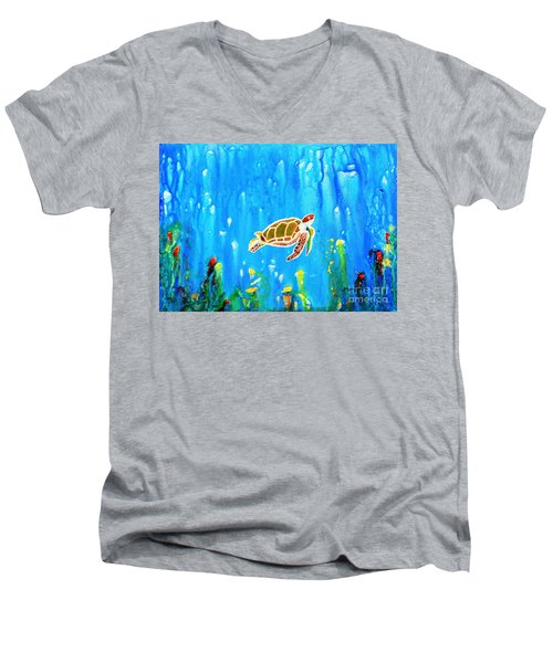 Underwater Magic 5-happy Turtle Men's V-Neck T-Shirt