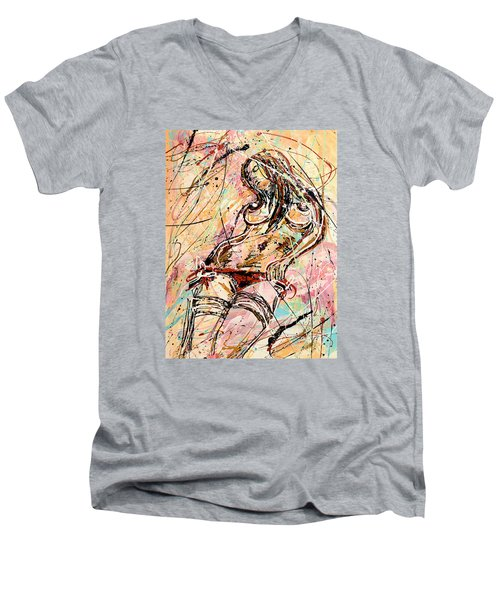 Undressing Woman  Men's V-Neck T-Shirt by Erika Pochybova