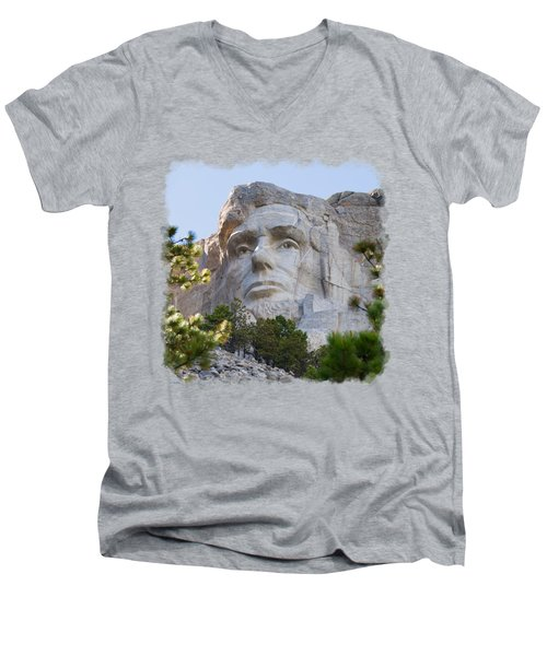 Unfinished Lincoln 3 Men's V-Neck T-Shirt by John M Bailey