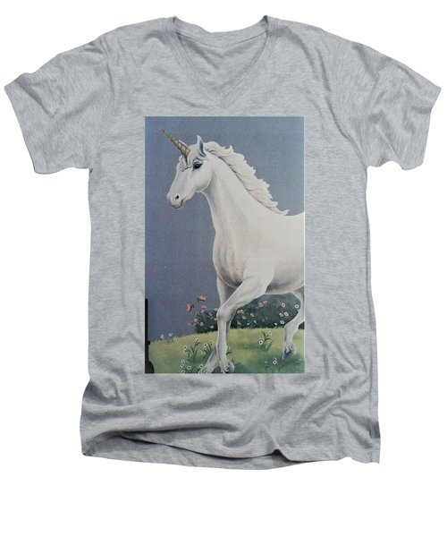 Unicorn Roaming The Grass And Flowers Men's V-Neck T-Shirt