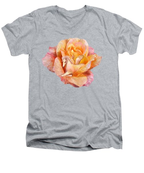 Men's V-Neck T-Shirt featuring the mixed media Unicorn Rose by Carol Cavalaris