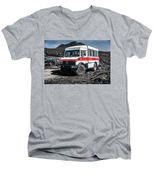 Unimog On Mt. Etna Men's V-Neck T-Shirt by Patrick Boening