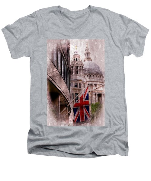 Union Jack By St. Paul's Cathdedral Men's V-Neck T-Shirt by Karen McKenzie McAdoo