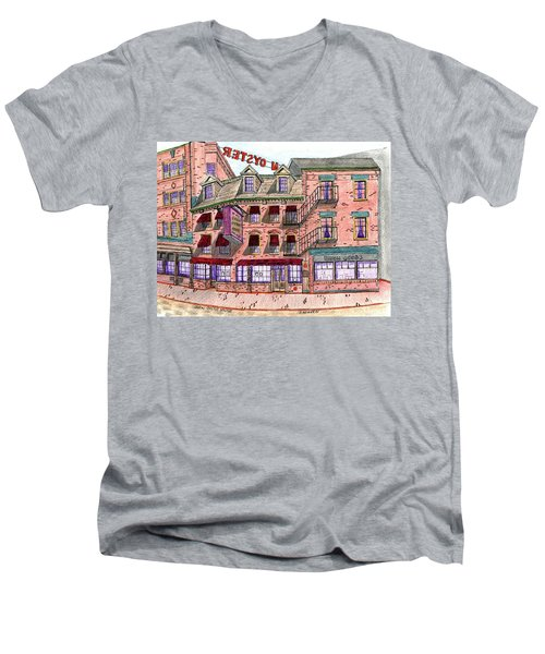 Union Osyter House Boston Men's V-Neck T-Shirt by Paul Meinerth