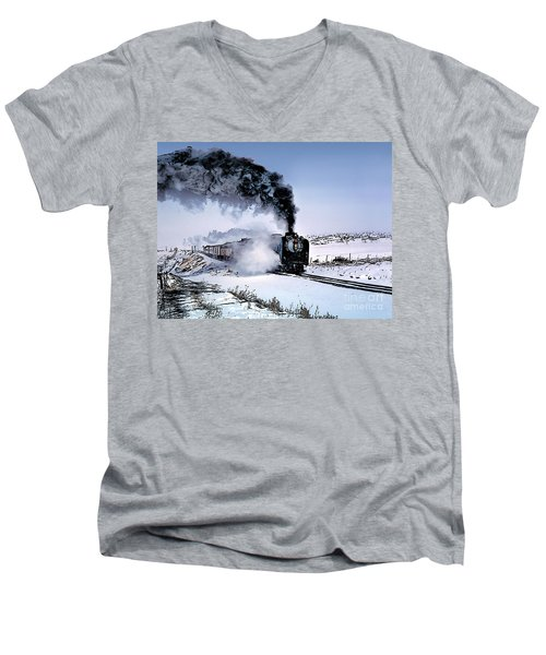 Union Pacific 8444 Steam Locomotive In The Snow Men's V-Neck T-Shirt