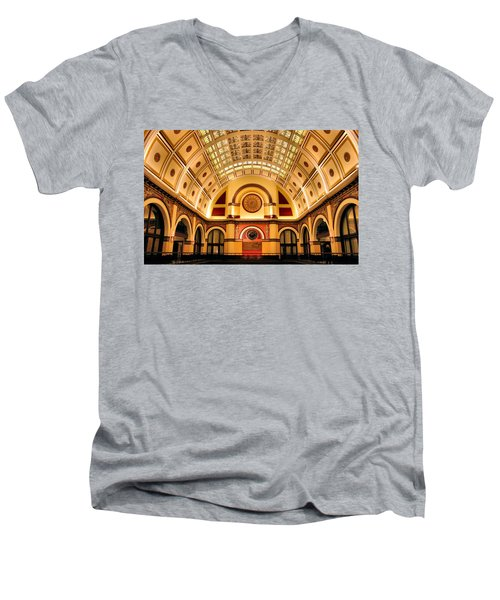 Union Station Balcony Men's V-Neck T-Shirt by Kristin Elmquist