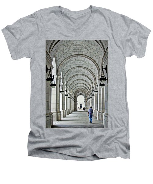 Men's V-Neck T-Shirt featuring the photograph Union Station Exterior Archway by Suzanne Stout