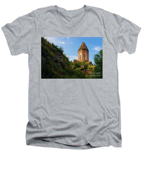 Unique Kirants Monastery On A Sunny Day, Armenia Men's V-Neck T-Shirt by Gurgen Bakhshetsyan