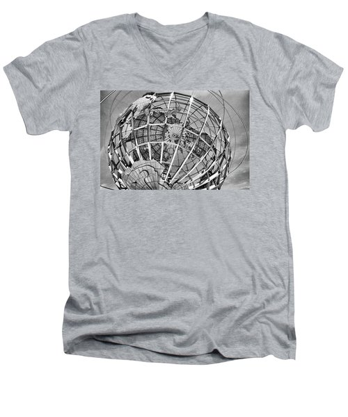 Unisphere In Black And White Men's V-Neck T-Shirt