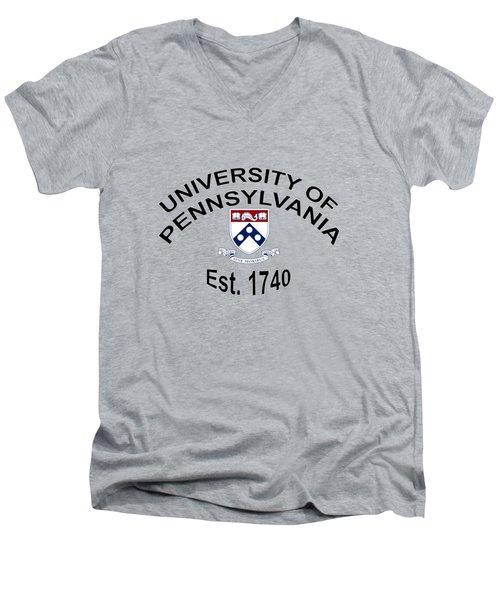 University Of Pennsylvania Est 1740 Men's V-Neck T-Shirt by Movie Poster Prints