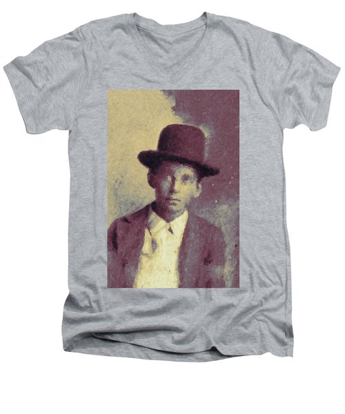 Men's V-Neck T-Shirt featuring the digital art Unknown Boy In A Bowler Hat by Matt Lindley