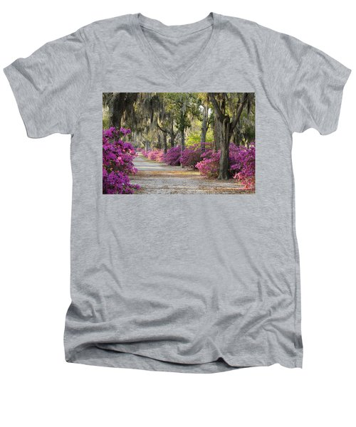 Unpaved Road With Azaleas And Oaks Men's V-Neck T-Shirt