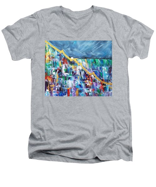 Men's V-Neck T-Shirt featuring the painting Untitled by Judith Rhue