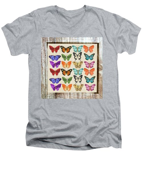 Colourful Butterflies Collage Men's V-Neck T-Shirt