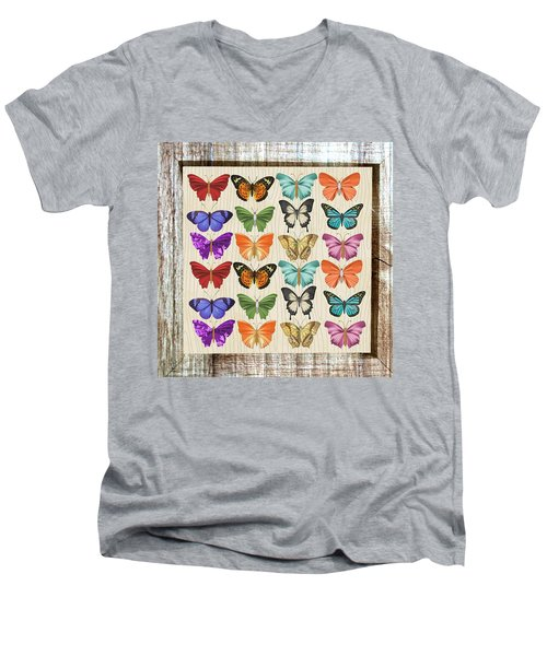 Unusual Colourful Butterfly Collage Men's V-Neck T-Shirt