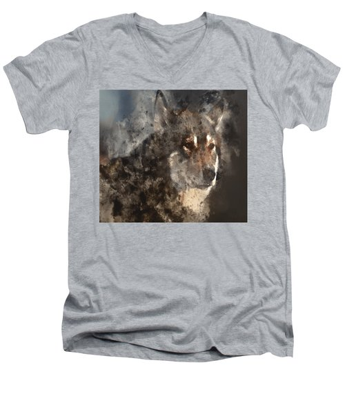 Men's V-Neck T-Shirt featuring the digital art Unwavering Loyalty by Elaine Ossipov