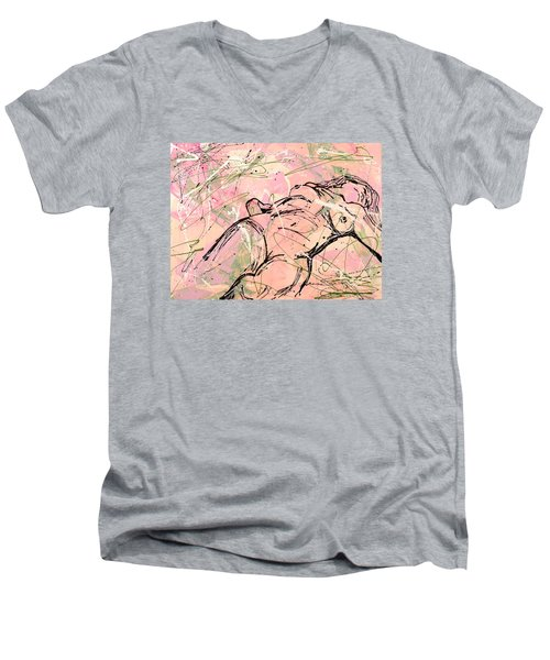 Unwinding Woman  Men's V-Neck T-Shirt by Erika Pochybova