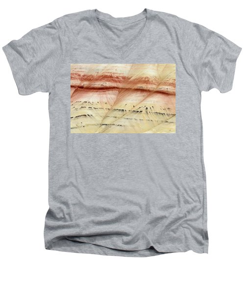 Up Close Painted Hills Men's V-Neck T-Shirt by Greg Nyquist