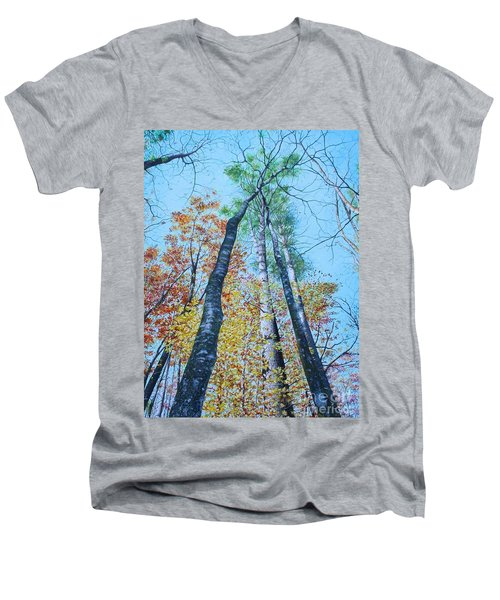 Up Into The Trees Men's V-Neck T-Shirt by Mike Ivey