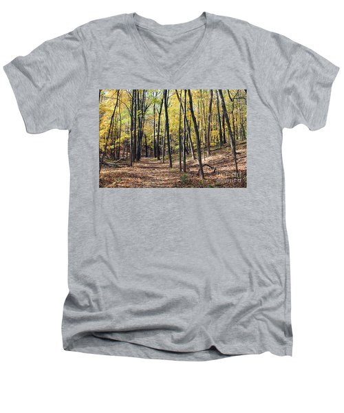 Up The Woodland Trail Men's V-Neck T-Shirt