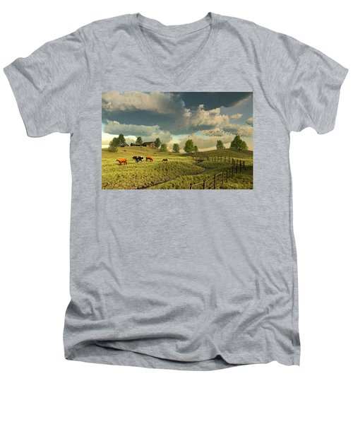 Upon The Rural Seas Men's V-Neck T-Shirt