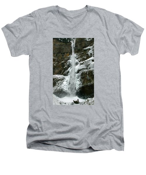Upper Multnomah Falls Ice Men's V-Neck T-Shirt