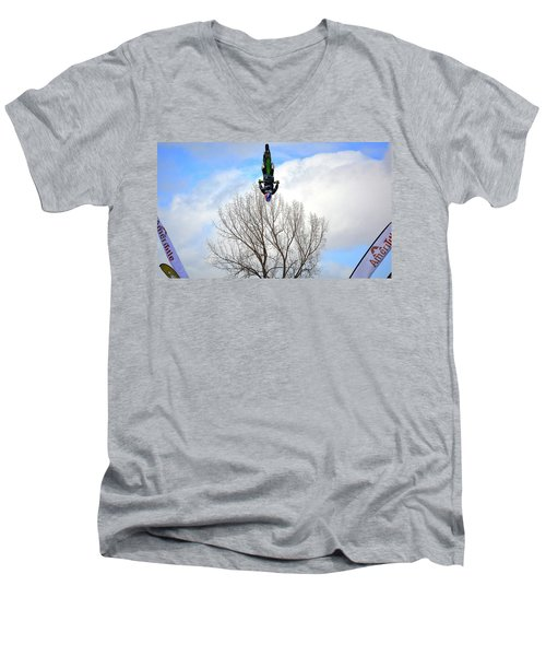 Men's V-Neck T-Shirt featuring the photograph Upside Down And All Around by Barbara Dudley