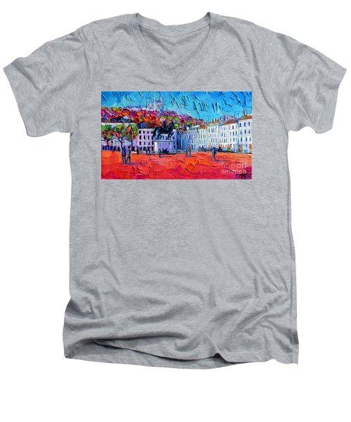 Urban Impression - Bellecour Square In Lyon France Men's V-Neck T-Shirt