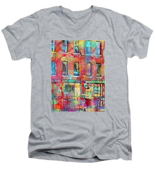 Urban Wall Men's V-Neck T-Shirt by Susan Stone