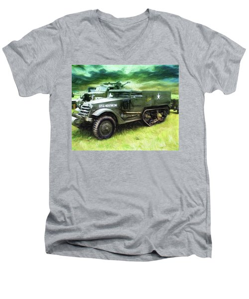 Men's V-Neck T-Shirt featuring the painting U.s. Army Halftrack by Michael Cleere