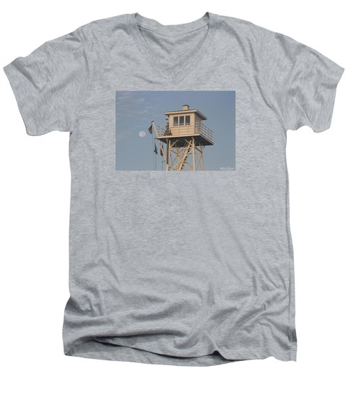 Men's V-Neck T-Shirt featuring the photograph Us Flag Waves At The Full Moon by Robert Banach