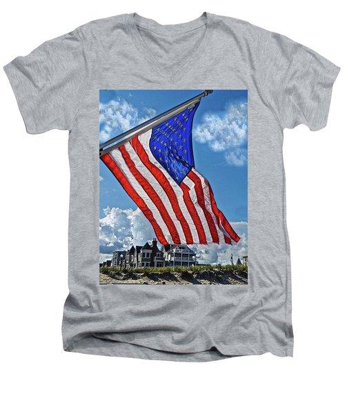 Us Flag,ocean Grove,nj Flag Men's V-Neck T-Shirt by Joan Reese