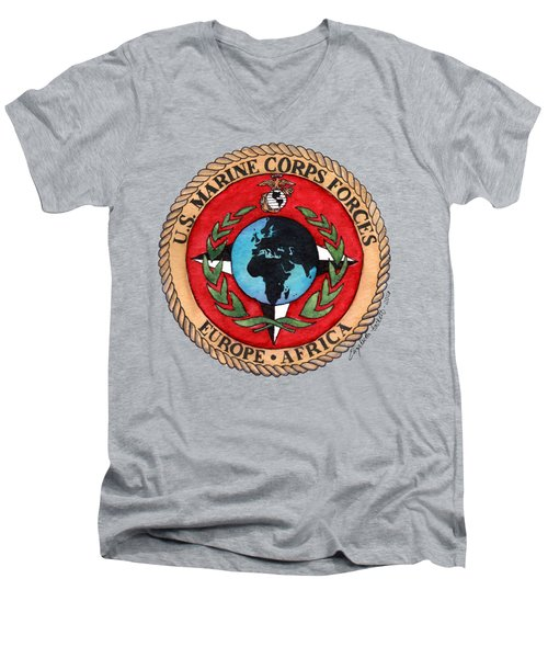 U.s. Marine Corps Forces Europe - Africa Men's V-Neck T-Shirt